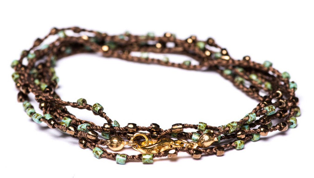 """32"""" braided chestnut brown silk thread necklace with green turquoise picasso 2-cut hex seed beads, gold plated beads and gold plated clasp"""