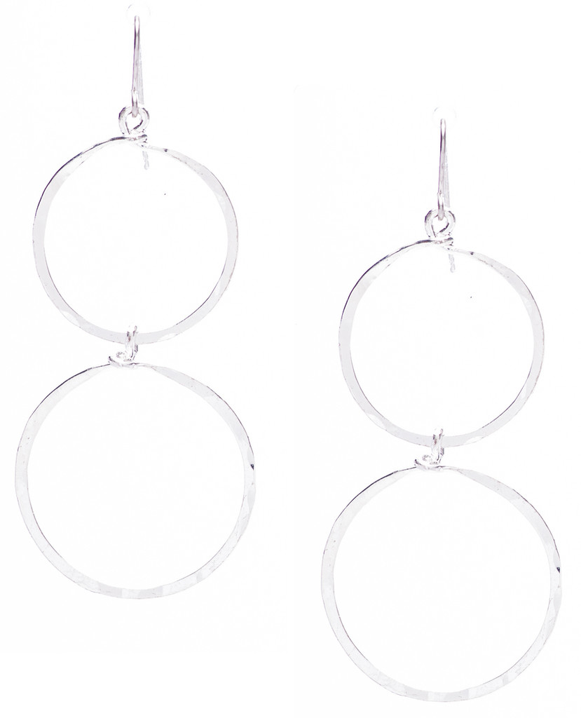 Golden Age hammered double hoop dangle earrings in silver plate finish. Surgical steel earwire.