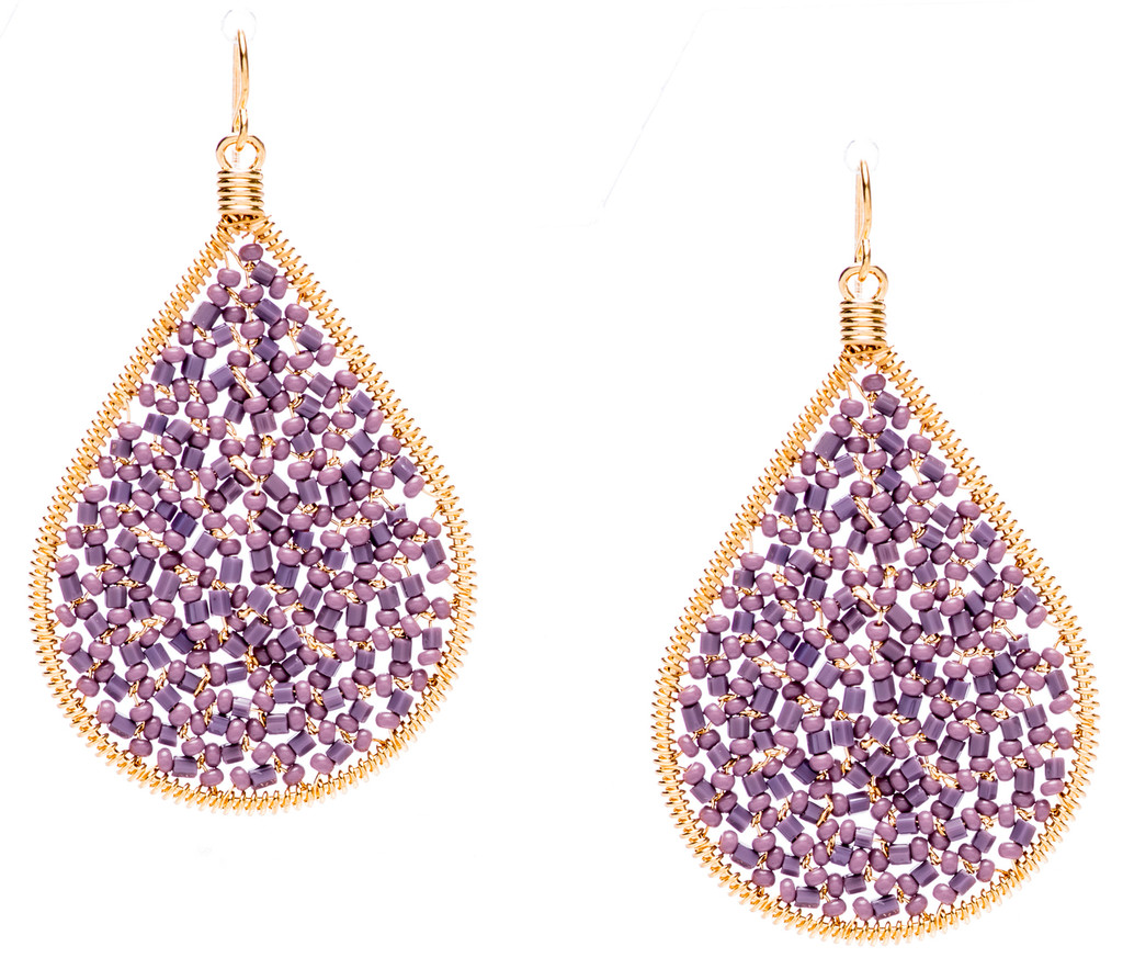 Ipamema Earrings - Tear drop earrings with lavender fire polish crystals and lavender seed beads in gold plate finish. Surgical steel earwire.