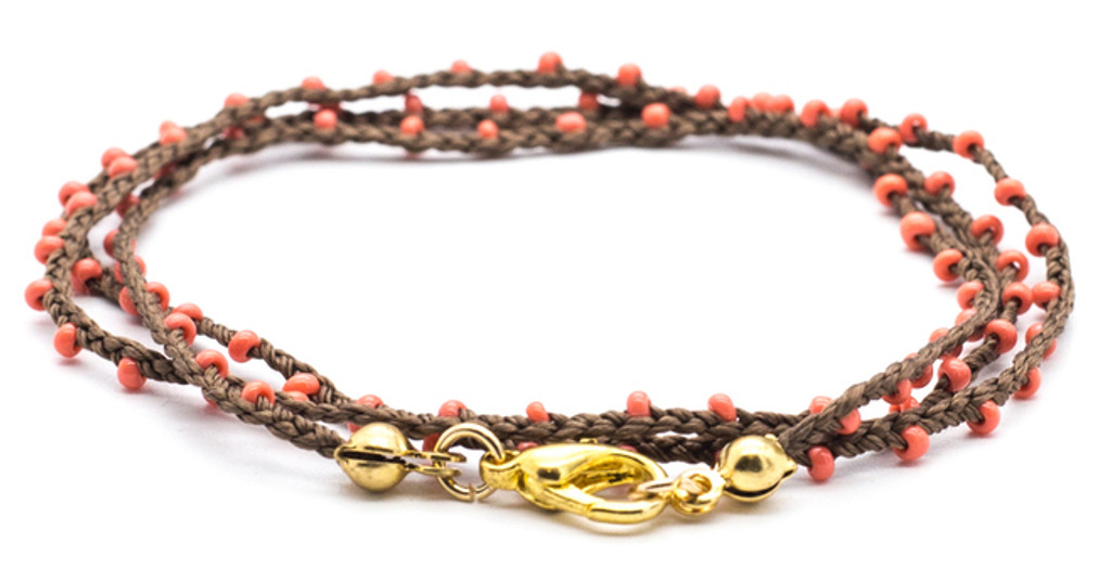 """16"""" braided brown silk thread necklace with coral seed beads and gold plated clasp."""