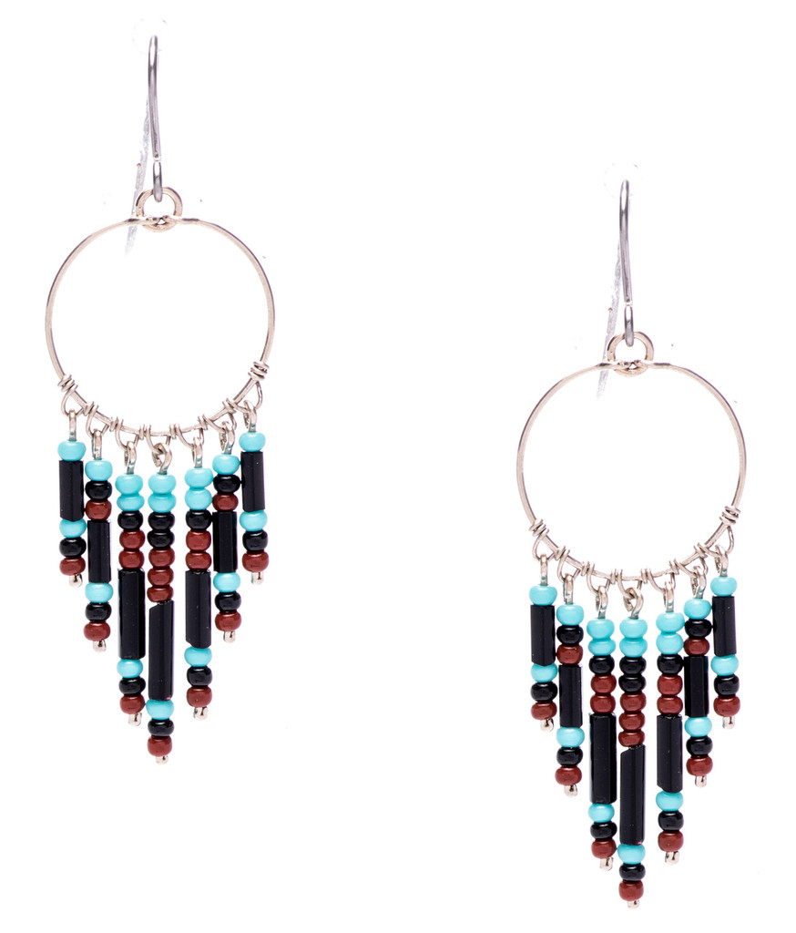 Boho chic, a tantalizing mix and match of mesmerizing turquoise, onyx, mocha bugle and seed beads on silver plate finish hoop and wire. Surgical steel earwire.
