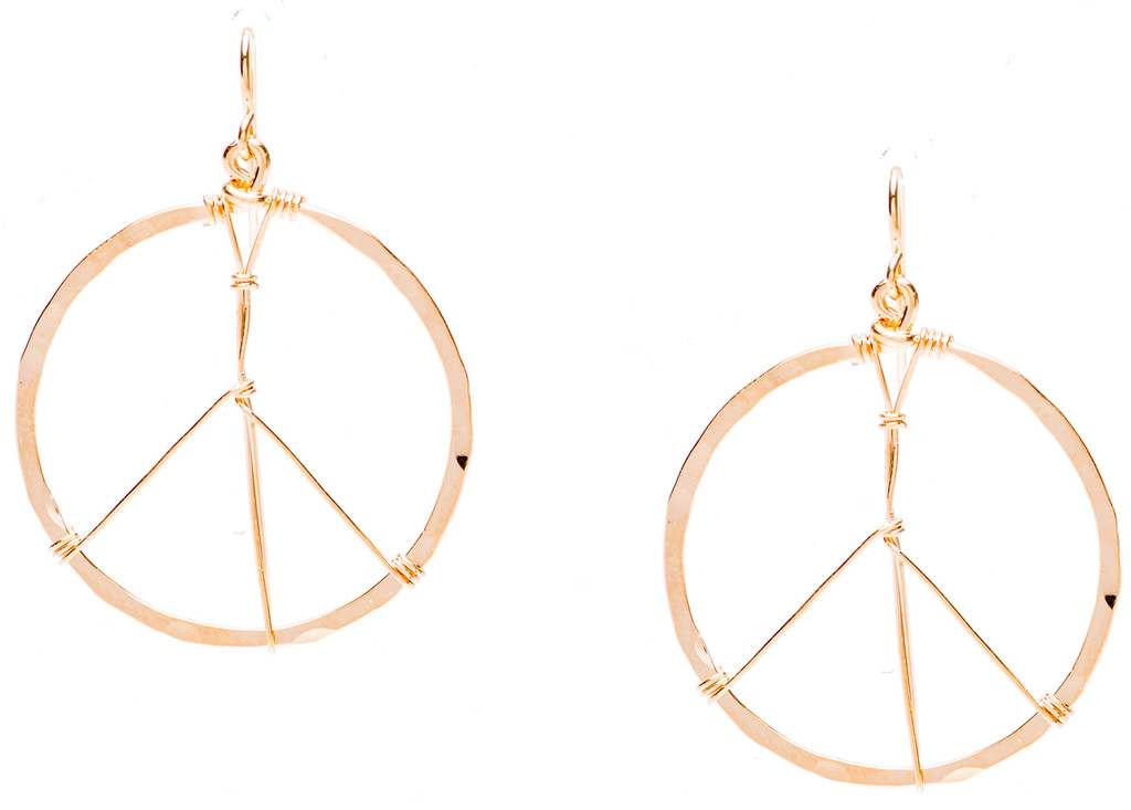 Golden Age Earrings, medium size peace sign hammered hoop earrings in gold plate finish. Surgical steel earwire.