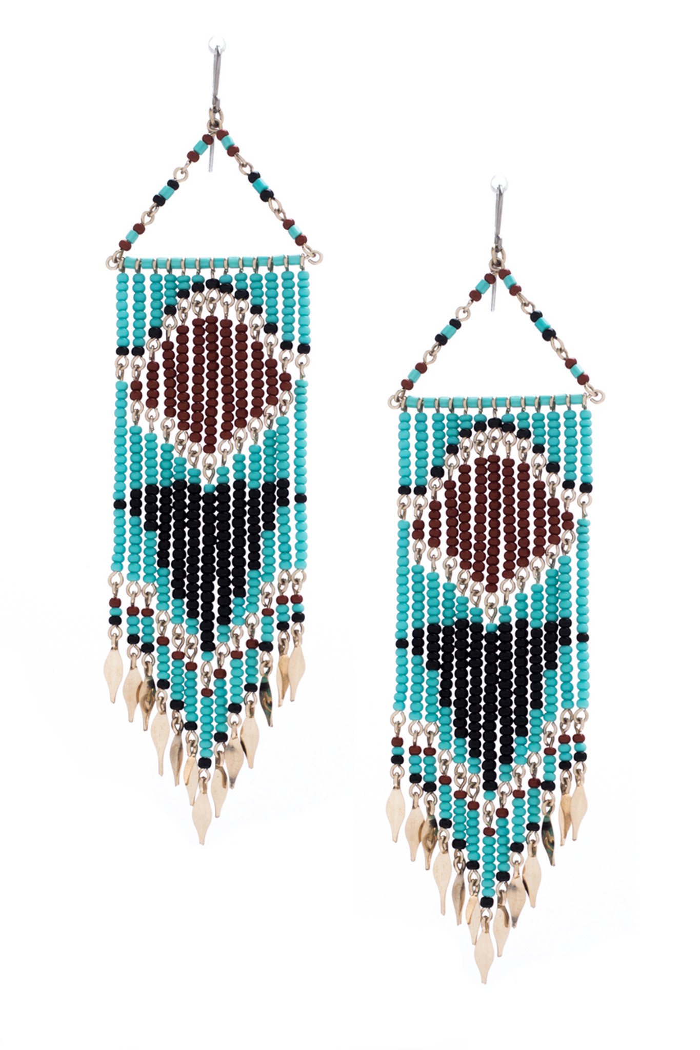 jewellery major woven beaded short threaded earrings mint tassel