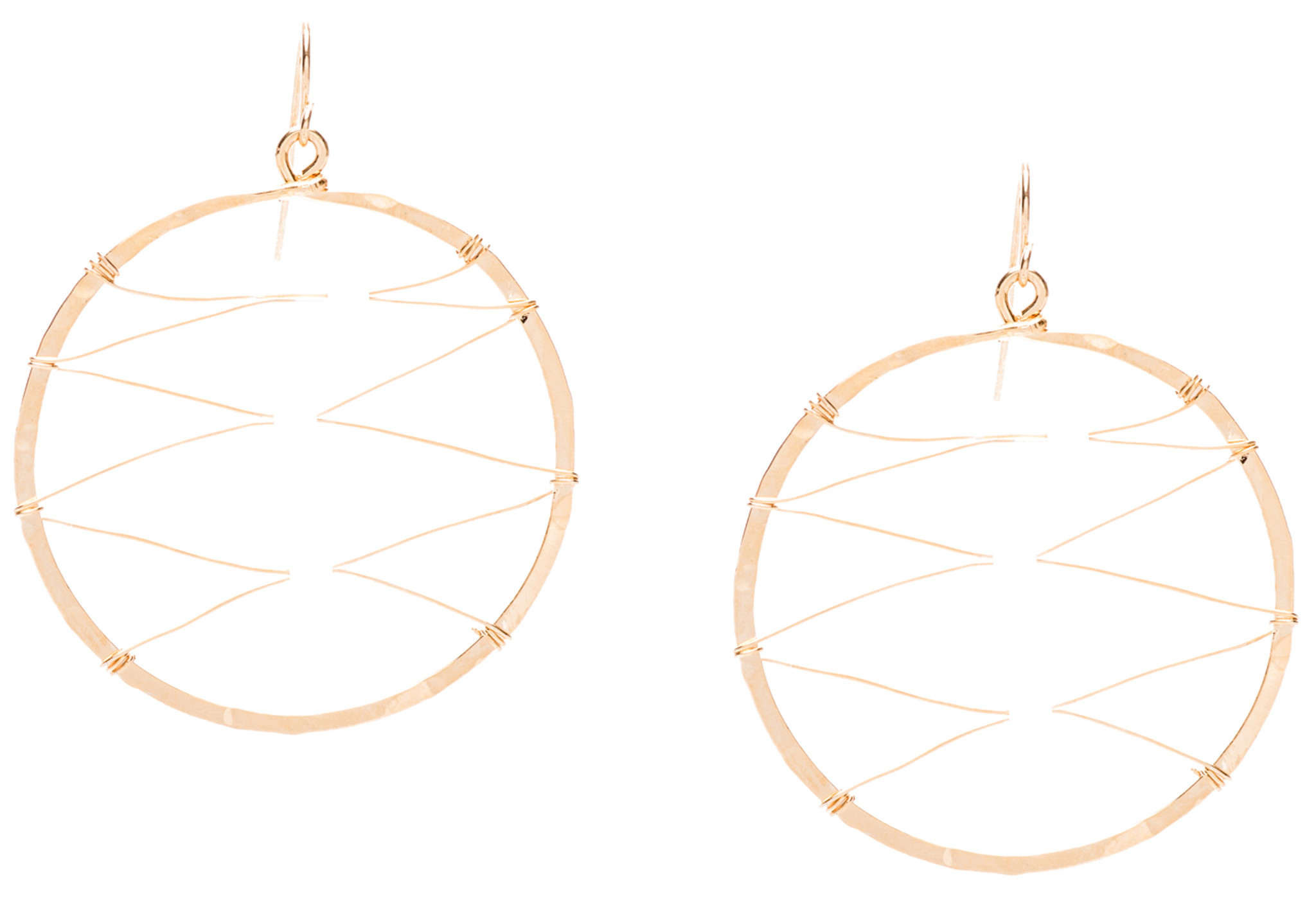 Hammered Minimalist Geometric Gold Plated Hoop Wire Beaded ...