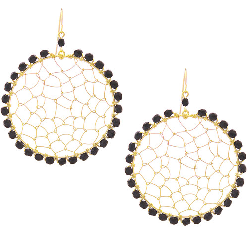 Handmade Chech Crystal Gold Plated Mesh Oval Bohemian Earrings / CLE G B169-14