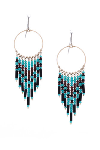 Handmade Beaded Dream Catcher Boho Tribal South West Wire Wrap Earrings / SOE- B2-3