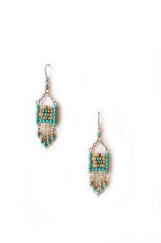 Handmade Beaded Gypsy Boho Tribal South West Wire Wrap Earrings / SOE B28-2