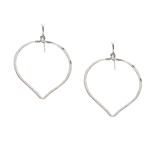 Hammered Geometric Minimalist Silver Double Hoop Drop Earrings, Handmade / GAE S B7-3