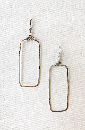Hammered Geometric Minimalist Silver Rectangular Earrings, Handmade / GAE S B15-1