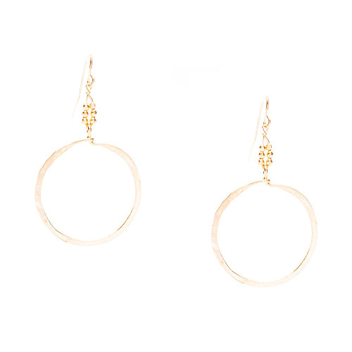 "Golden Age Earrings - Gold plated 2 1/2"" inches dangling hammered hoop earrings."