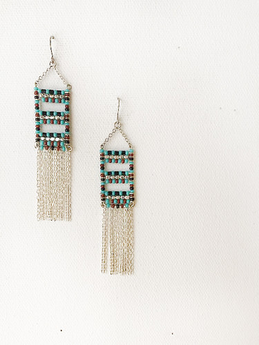 Handmade Beaded Gypsy Boho Tribal South West Wire Wrap Earrings / SOE B25-3