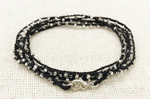 Dainty Boho Crochet Czech Seed Bead Silk Thread Necklace / Wrap Bracelet in Black / GAN S B102-69