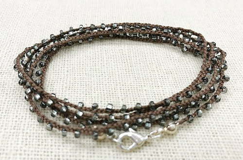 Dainty Boho Crochet Czech Seed Bead Silk Thread Necklace / Wrap Bracelet in Brown / GAN S B102-83
