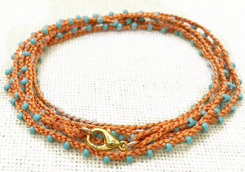Dainty Boho Crochet Czech Seed Bead Gold Silk Thread Necklace / Wrap Bracelet in Coral Blue / GAN G B102-9