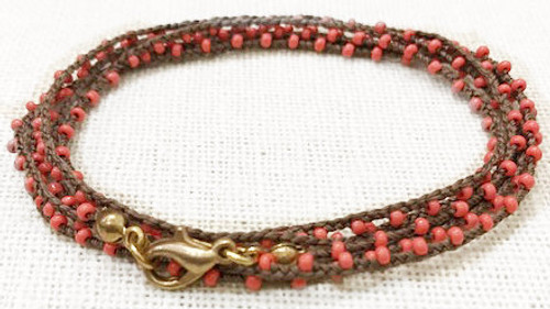 Dainty Boho Crochet Czech Seed Bead Gold Silk Thread Necklace / Wrap Bracelet in Coral Brown / GAN G B102-55