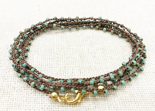 Dainty Boho Crochet Czech Seed Bead Gold Silk Thread Necklace / Wrap Bracelet in Turquoise Brown / GAN G B102-91