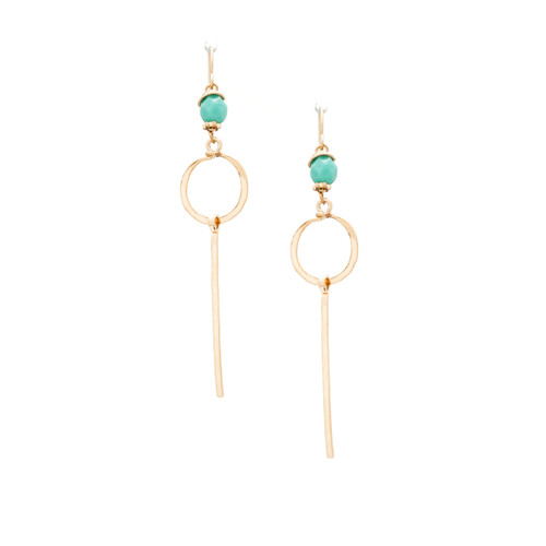 Hammered Geometric Minimalist Gold Handmade Dangle Chain Earrings / GAE G B118-1