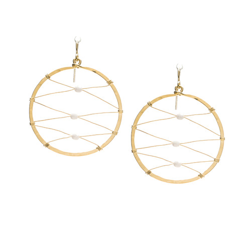 Hammered Geometric Minimalist Gold Rectangle Bohemian Hoop Wire Beaded Earrings / GAE G B40-3