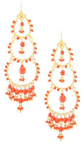 Handmade Bohemian Beaded Gold plated Chandelier Earrings / CAE G B13-2