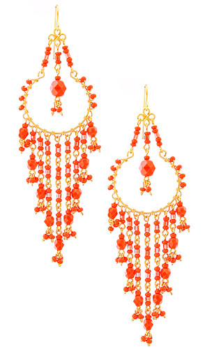 Handmade Bohemian Beaded Gold Plated Chandelier Earrings / CAE G B11-2