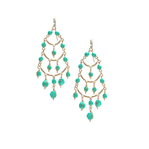 Handmade Beaded Fringe Chandelier Boho Earrings / CLE G B93-1