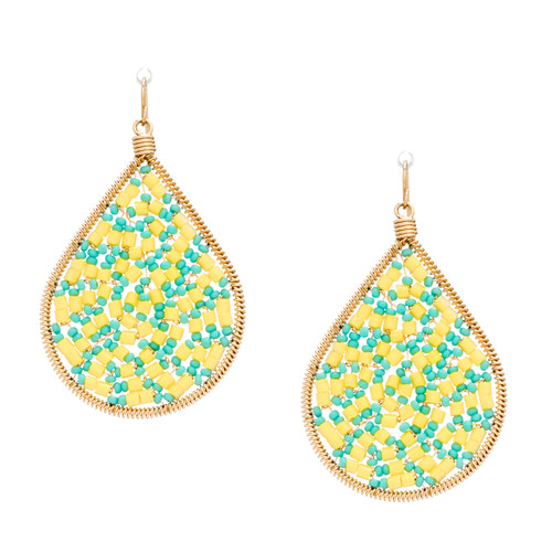 Handmade beading Czech bugle and Seed Beads Gold Teardrop Bohemian Earrings / RQE G B15-D25