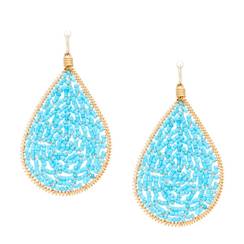Handmade beading Seed Beads and bugle beads Wire Wrapped Gold Teardrop Bohemian Earrings / RQE G B15-28