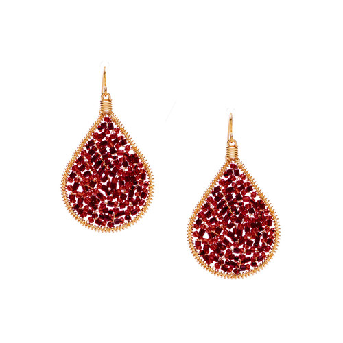 Handmade beading Czech Seed Beads and bugle beads Gold Teardrop Bohemian Earrings / RQE G B14-D12