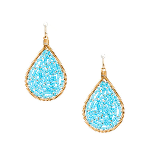 Handmade Beading Seed Beads, bugle beads Gold Teardrop Bohemian Earrings / RQE G B14-28