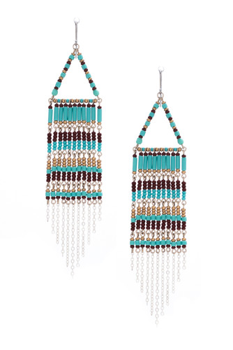 Handmade Native beaded earrings, Czech glass bead Southwest festival tribal bohemian beaded earrings / KPE B11-4