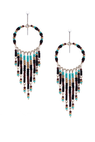 Handmade Beaded Dream Catcher Boho Tribal South West Wire Wrap Earrings / SOE B15-5