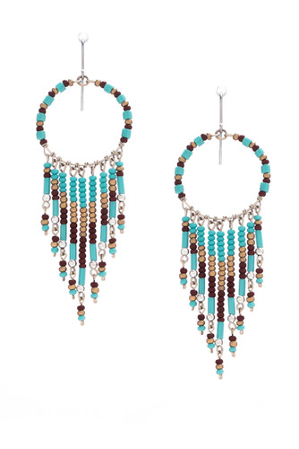 Handmade Beaded Dream Catcher Boho Tribal South West Wire Wrap Earrings / SOE B15-6