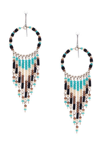 Handmade Beaded Dream Catcher Boho Tribal South West Wire Wrap Earrings / SOE B15-4