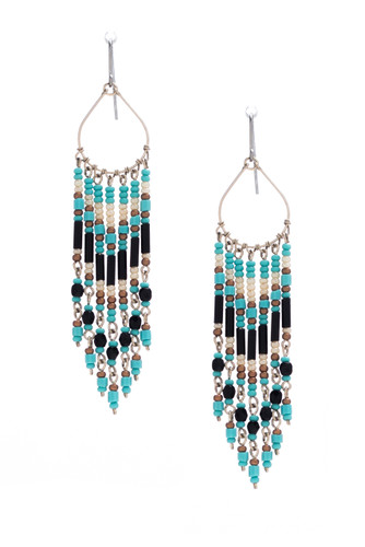 Handmade Beaded Dream Catcher Tear Drop Boho Tribal South West Wire Wrap Earrings / SOE B6-4