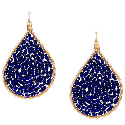 Handmade beading Czech Seed Beads and bugle beads Gold Teardrop Bohemian Earrings / RQE G B15-21