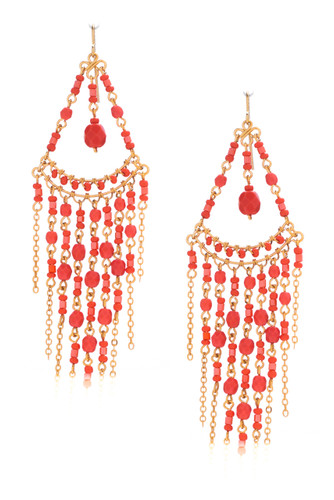 Handmade Bohemian Beaded Gold Plated Chandelier Earrings / CAE G B47-2