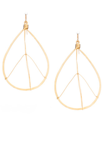 (Medium) Hammered Bohemian, Geometric Minimalist Gold Plated Teardrop Peace Sign Earrings, Handmade / GAE G B10-3