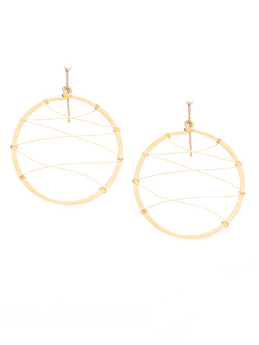Hammered  Boho, Bohemian, Minimalist Geometric Gold Plated Hoop Wire Beaded Earrings / GAE G B54-2