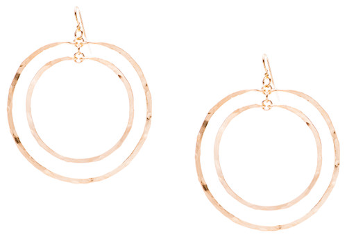 Golden Age - Hammered double hoop earring with gold plate finish. Surgical steel earwire.