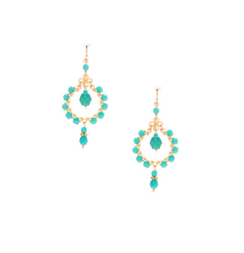 Handmade bohemian Gold plated Boho Beaded Chandelier Earrings / CLE G B225-1