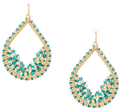 Handmade Bohemian Gold plated Seed Beads and Bugle Beads Teardrop Earrings in Enchanting Mix / RQE G B57-D71