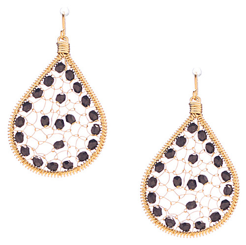 Handmade boho Beading Czech Seed Beads Gold plated Teardrop Bohemian Earrings / RQE G B68-14