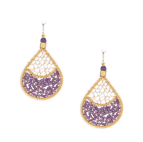 Handmade boho Beading Czech Seed Beads Gold plated Teardrop Bohemian Earrings - RQE G B71-50