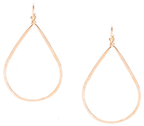 Golden Age hammered teardrop earring with gold plate finish. Surgical steel earwire.