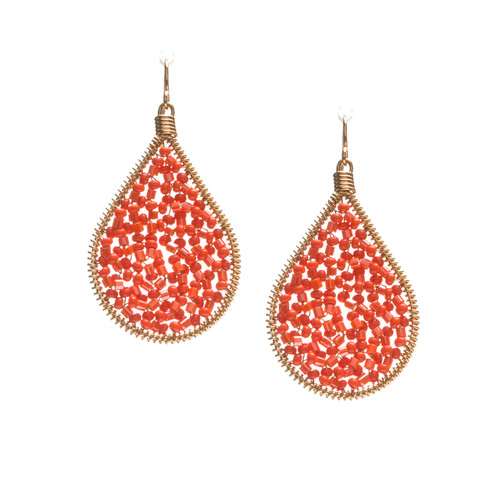 Handmade beading Czech Seed Beads and bugle beads Gold Teardrop Bohemian Earrings / RQE G B14-2