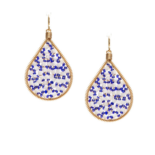 Handmade beading Czech Seed Beads and bugle beads Gold Teardrop Bohemian Earrings / RQE G B14-D68