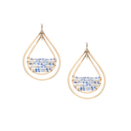 Hammered Geometric Teardrop  Bohemian, Gold Plated Bead Earrings, Handmade / GAE G B52-D68