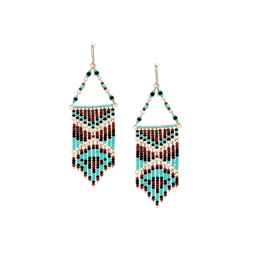 Handmade boho Native American Czech glass bead Southwest festival tribal bohemian beaded earrings / KPE B158-5