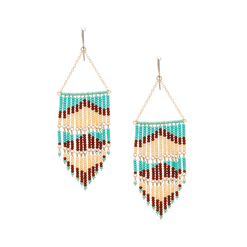 Handmade boho Native American Czech glass bead bohemian Southwest festival tribal beaded earrings / KPE B13-3