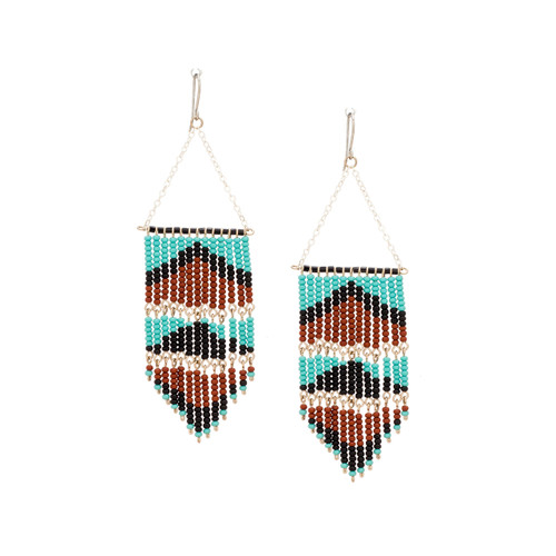 Handmade Southwest boho beaded earrings, Czech glass bead festival tribal bohemian beaded earrings / KPE B13-5